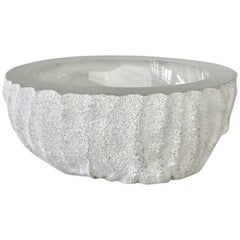 Large Seguso White 'a Scavo' Murano Glass Bowl Attributed to Vittorio Rigattieri