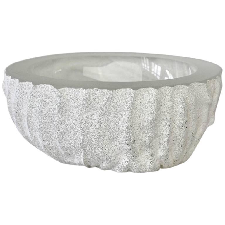 Large Seguso White 'a Scavo' Murano Glass Bowl Attributed to Vittorio Rigattieri