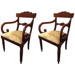 Pair of Regency Mahogany Armchairs Standing on Reeded Legs, 19th Century