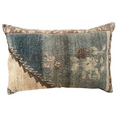 20th Century Turkish Green and Khaki Rug Fragment Pillow