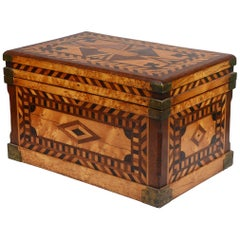 Folk Art Parquetry Box, 19th Century