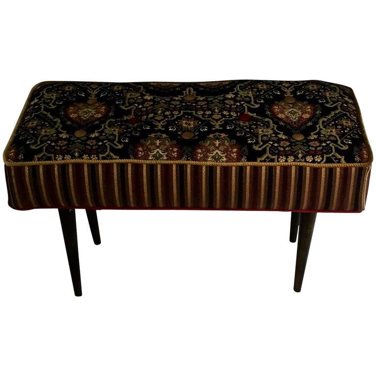 Elegant Black Midcentury Style Piano Bench