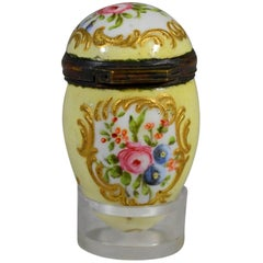 Battersea Bilston English Yellow-Ground Box in Form of an Egg, circa 1775-1785