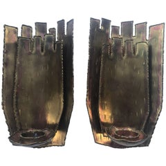 Very Rare Swedish Brass Candle Sconces by Silversmith and Artist Claës Giertta