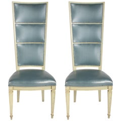 Pair of Dramatic High Back Hollywood Regency Occasional or Dining Chairs