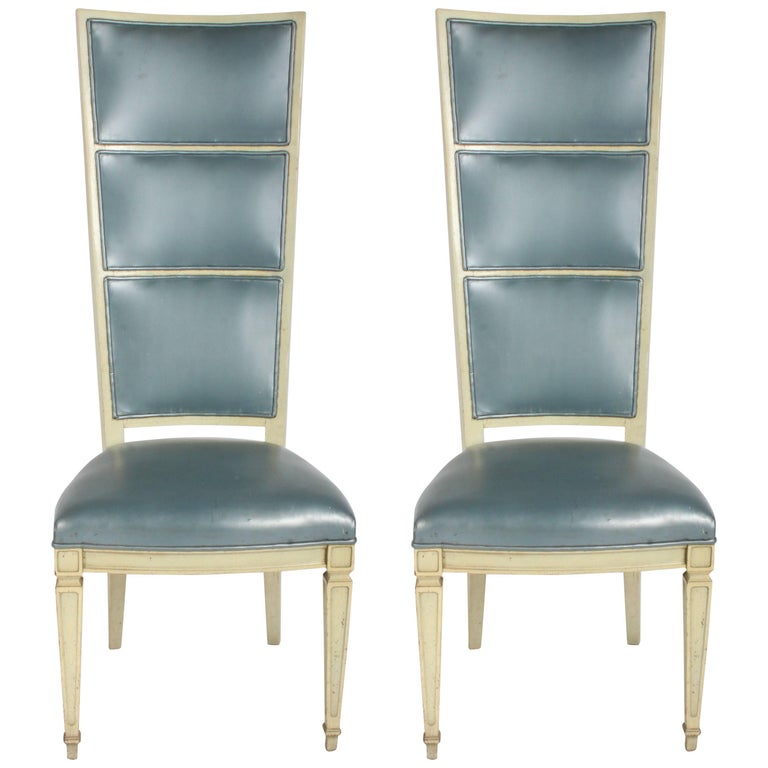Pair of Dramatic High Back Hollywood Regency Occasional or Dining Chairs For Sale