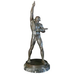 """Oath of Loyalty,"" Weimar Republic Sculpture of Nude Soldier, Very Rare, 1925"