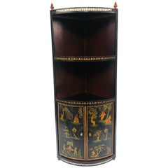 Tole Chinoiserie Corner Wall Cabinet