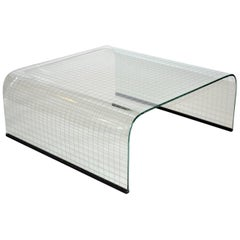 Coffee Table in Curved Plate Glass by Fiam