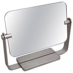 Streamlined Double-Face Rectangular Nickel Metal Vanity Mirror, France 1960's