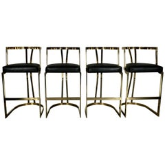Incredible High End Brass Barstools 'Set of Four'
