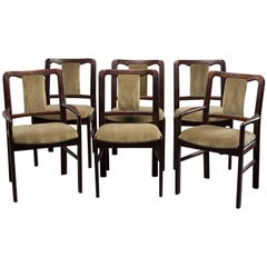 Set of Six Midcentury Rosewood Dining Chairs with New Velvet Upholstery
