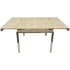 20th Century Cerused Oak Marquetry & Chrome Expandable Dining Table