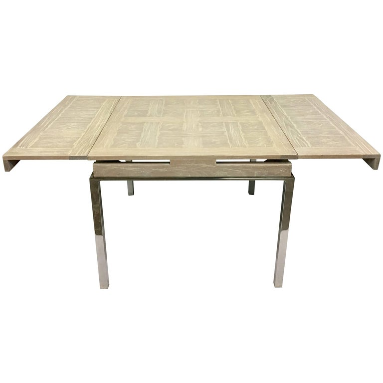 20th Century Cerused Oak Marquetry & Chrome Expandable Dining Table For Sale