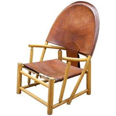 Italian Leather Sling Chair Rustic Mid-Century Alps Cabin Ski Chalet Hoop Lounge