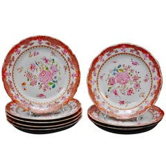 Chinese Export Famille Rose Set of 16 Plates, circa 1775-1785