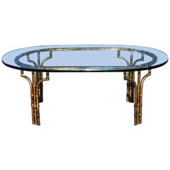 Gilt Faux Bamboo Oval Coffee Table