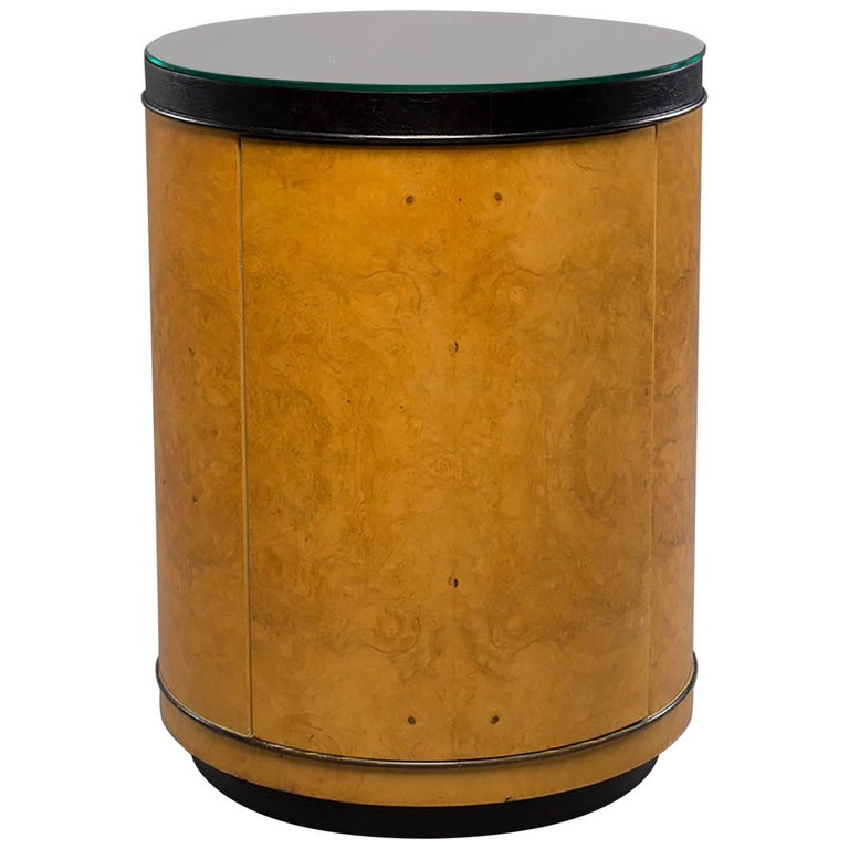 Midcentury Olivewood Drum Table Cabinet