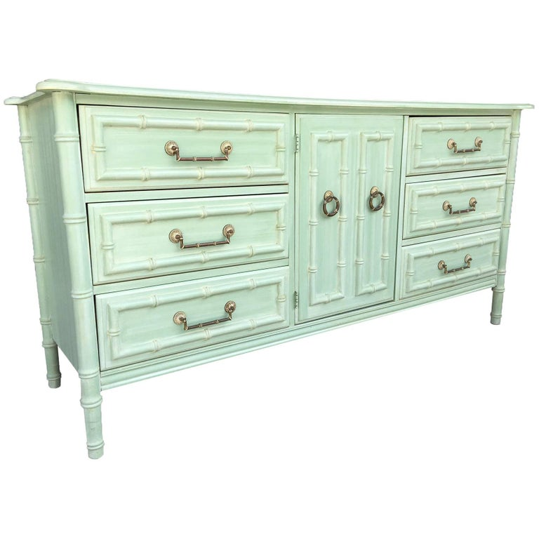 Faux Bamboo Midcentury Nine-Drawer Dresser with Matching Mirror