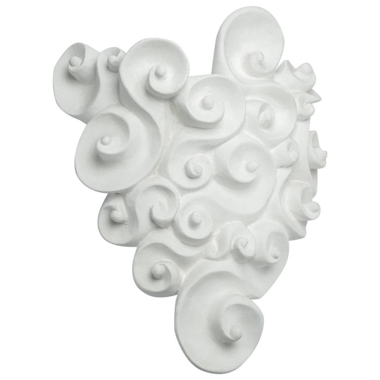 White Plaster Wall Jardinière by Jean Boggio for Les Héritiers, France, 1990s For Sale