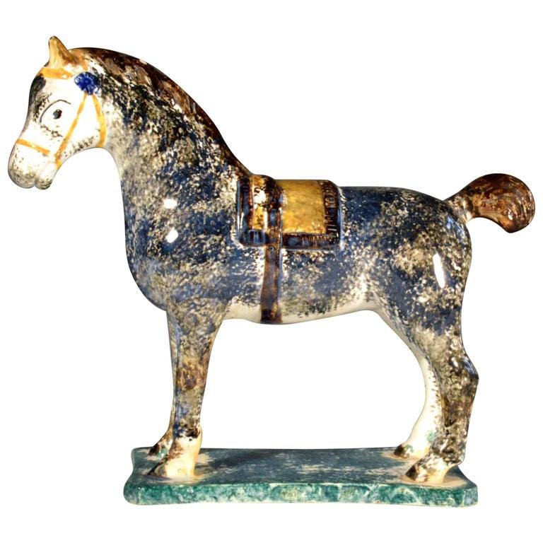 Newcastle Prattware Pottery Model of a Horse, St. Anthony Pottery, Newcastle