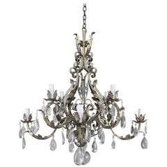 Italian Eight-Light Wrought Iron Crystal Chandelier