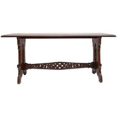 Gothic Revival Oak Trestle Table