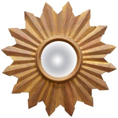 Rustic Wooden Starburst Convex Wall Mirror Patina Hollywood Rococo, Midcentury