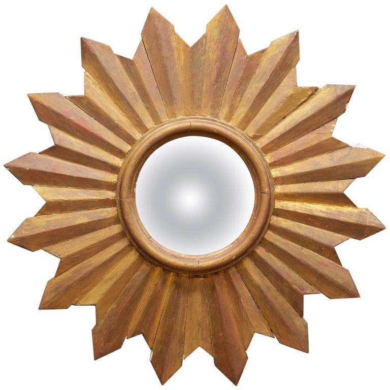 Rustic Wooden Starburst Convex Wall Mirror Patina Hollywood Rococo, Midcentury