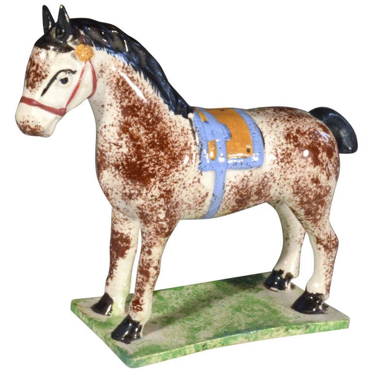 Newcastle Prattware Pottery Model of a Horse, Attributed to St. Anthony Pottery