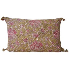 19th Century French Faded Rose Pink Flowers Pillow