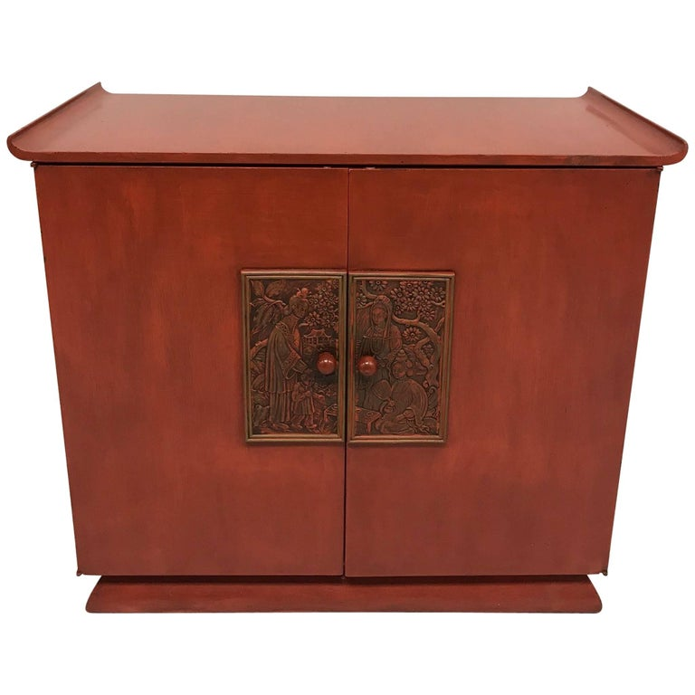 Red Midcentury Chinoiserie Bar Cabinet