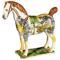 Newcastle Prattware Pottery Model of a Horse, Probably St. Anthony Pottery