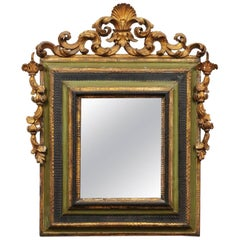 Italian Painted and Parcel-Gilt Baroque Wall Mirror, Early 18th Century