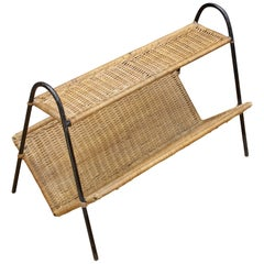 Heavy Iron Rod and Rattan Magazine Rack Book Shelf Midcentury Umanoff Aubock