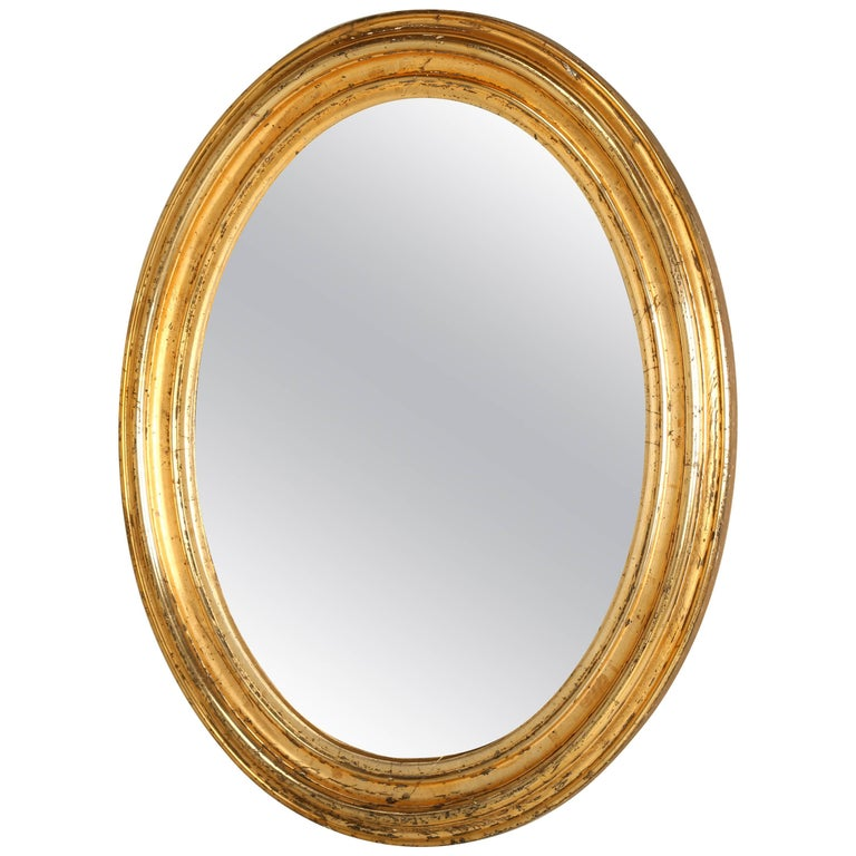 57d554f5ff13d Antique French Oval Gilt Mirror