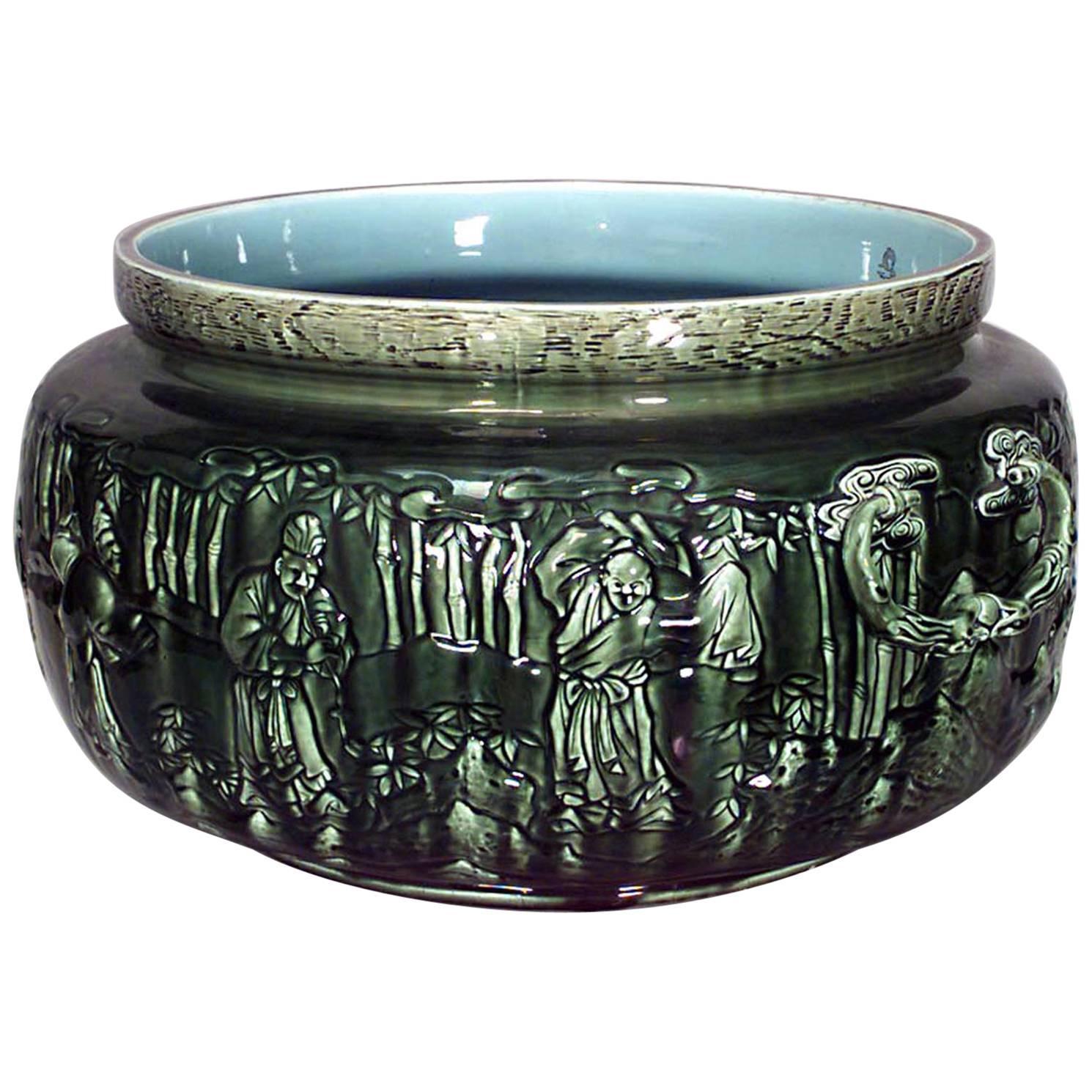 French Victorian Green Majolica Porcelain Pot