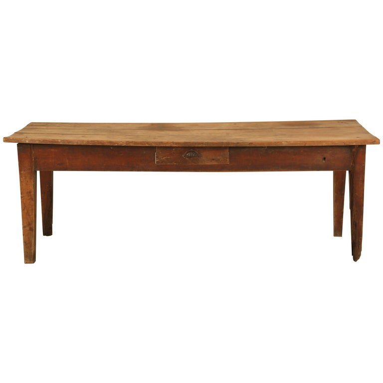 Antique French Cherrywood Farm Table in its Original Untouched Finish