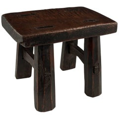 19th Century Burl Wood Cricket Stool from China