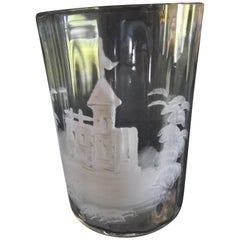 Mary Gregory Glass, Clear Glass with Castle Painted in White Porcelain