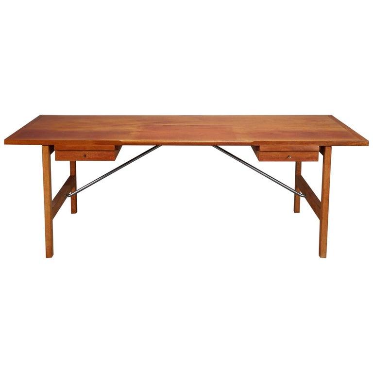 Mahogany and Oak Danish Desk by Hans J. Wegner for Andreas Tuck, Model AT325