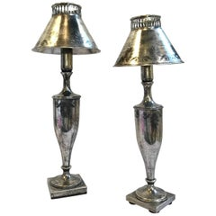 English Urn Form Buffet Lamps of a Petite Size, a Pair