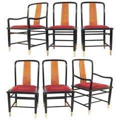 Henredon Asian Chinoiserie Elan Koa Wood Dining Chairs