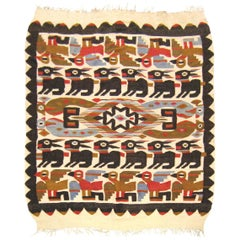 Vintage Peruvian Flat-Weave Rug with Stylized Chancay Design, in Small Room Size