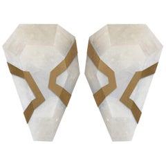 Diamond Form Rock Crystal Quartz Sconces by Phoenix