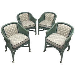 Vintage Seafoam Blue Rattan Chairs With Casters - Set of 4