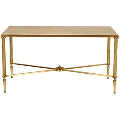 French Mid-Century Modern Coffee or Cocktail Table in Polished Solid Brass