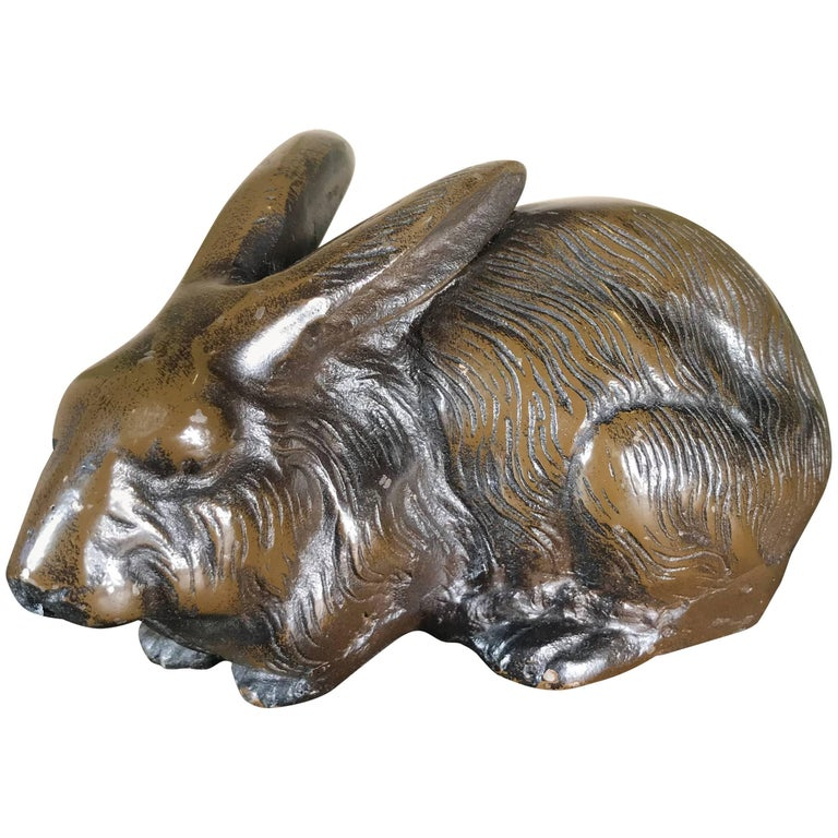 Japan Antique Bronze Rabbit in Unusual Relaxed Pose, Fine Details