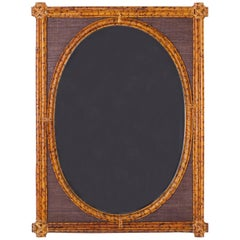 Grasscloth and Bamboo Oval Mirror