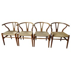 Set of Four Wishbone Chairs by Hans Wegner in White Oak and Papercord